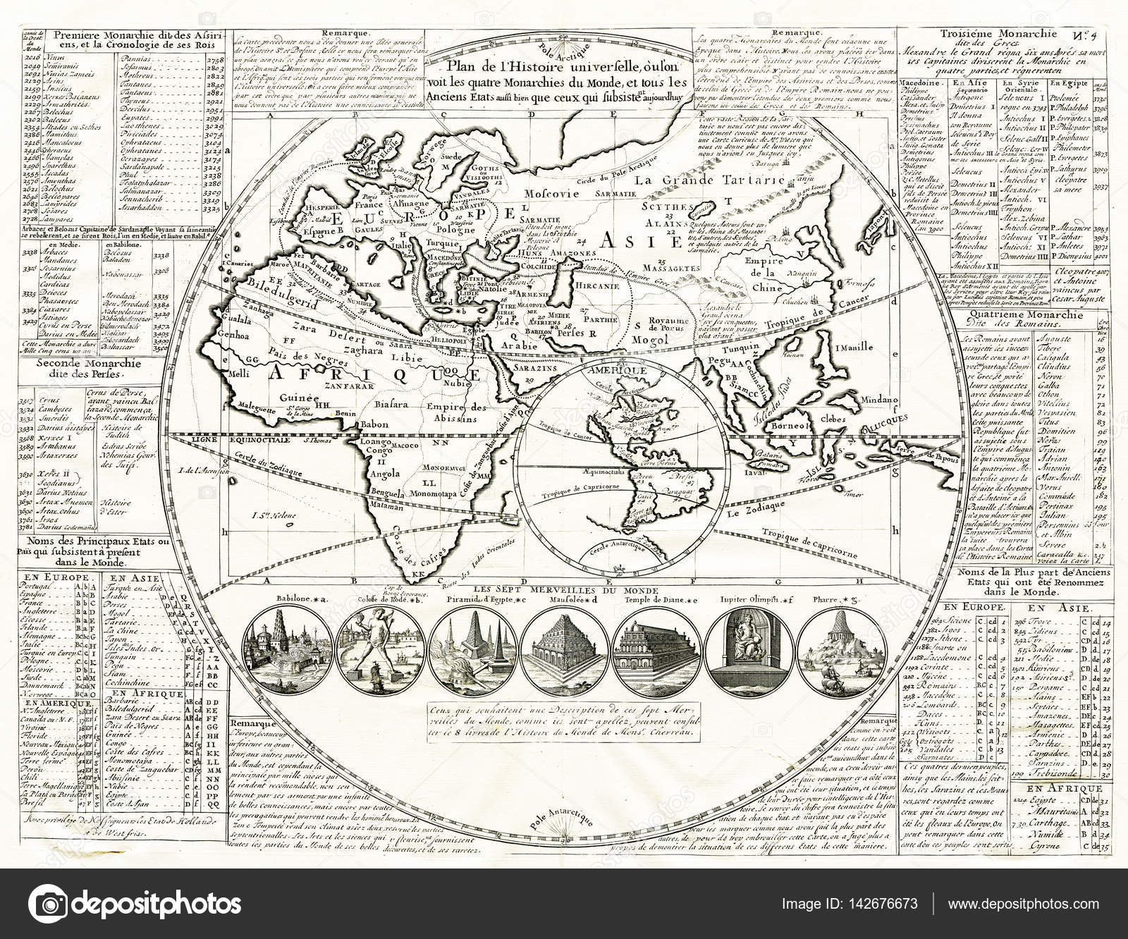World map seven wonders of the ancient world 1707 stock photo world map seven wonders of the ancient world 1707 stock photo gumiabroncs Images