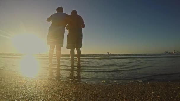 idős házaspár figyelembe képek a gyönyörű naplemente, egy trópusi tengerparton