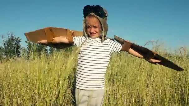 Boldog gyerek játszik. Gyermek szabadban szórakozik. Gyerek karton szárnyakkal. Gyermek nyári mezőben. Úgy tesz, mintha a pilóta egy kézműves, képzelet vagy feltárása koncepció.