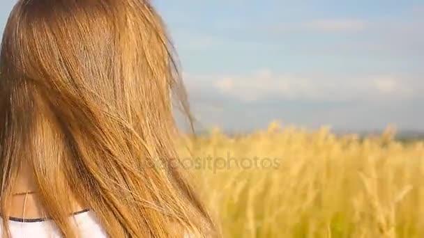 Rozkošná holčička hraje v poli pšenice v teplém letním dni. Preschooler děvče šťastně chůze v pšeničné pole na teplé a slunečné letní den.