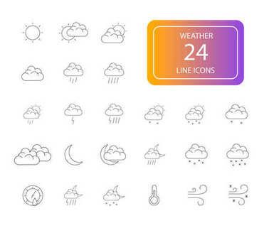 Line icons set. Weather pack. Vector illustration icon