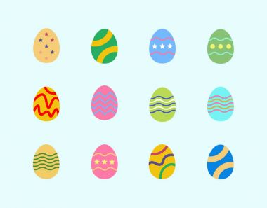 Easter eggs icon set. Vector Illustration icon