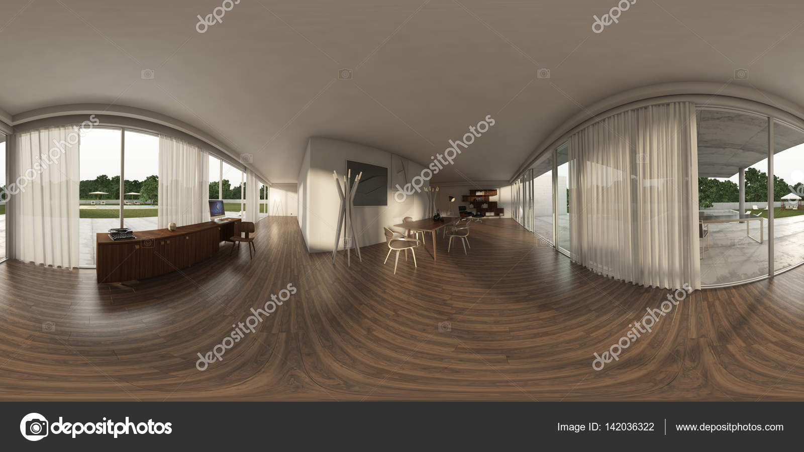 360 Panorama Vr , 3D Rendering Of Interior Modern Table -5584