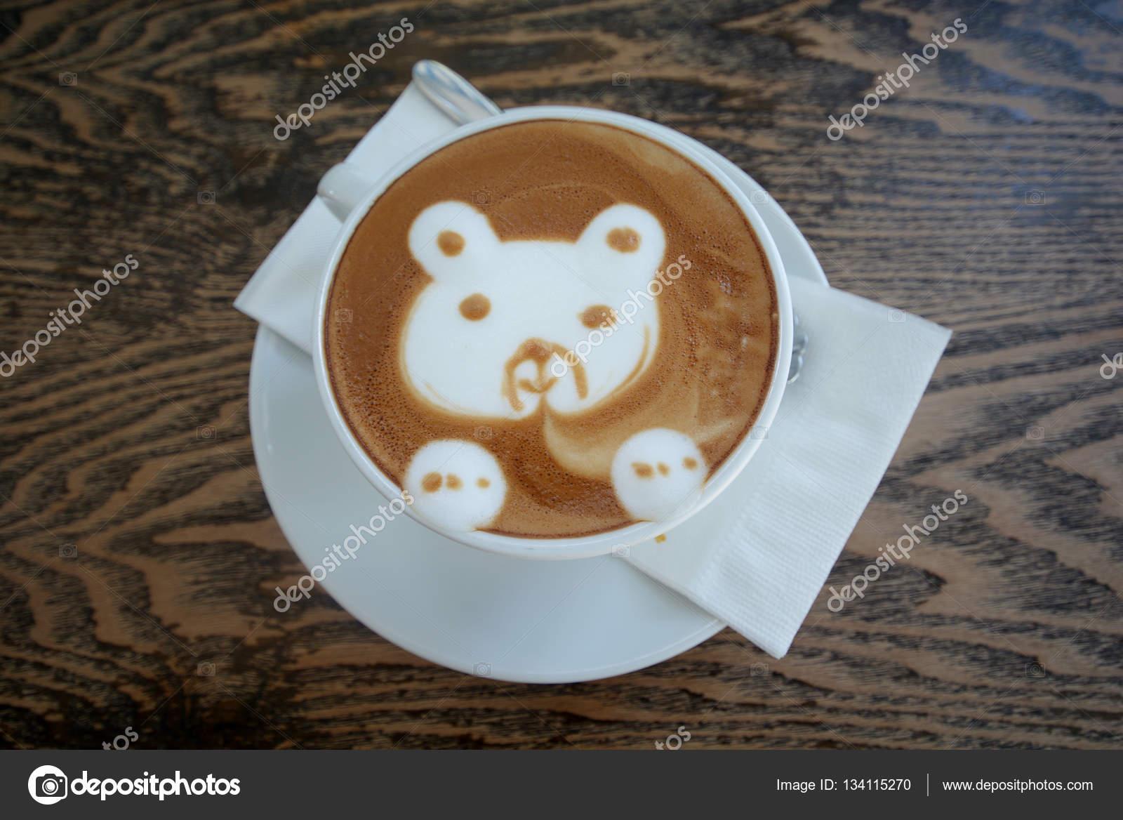 Dibujos Animados De Arte Latte Tener Cara De Café