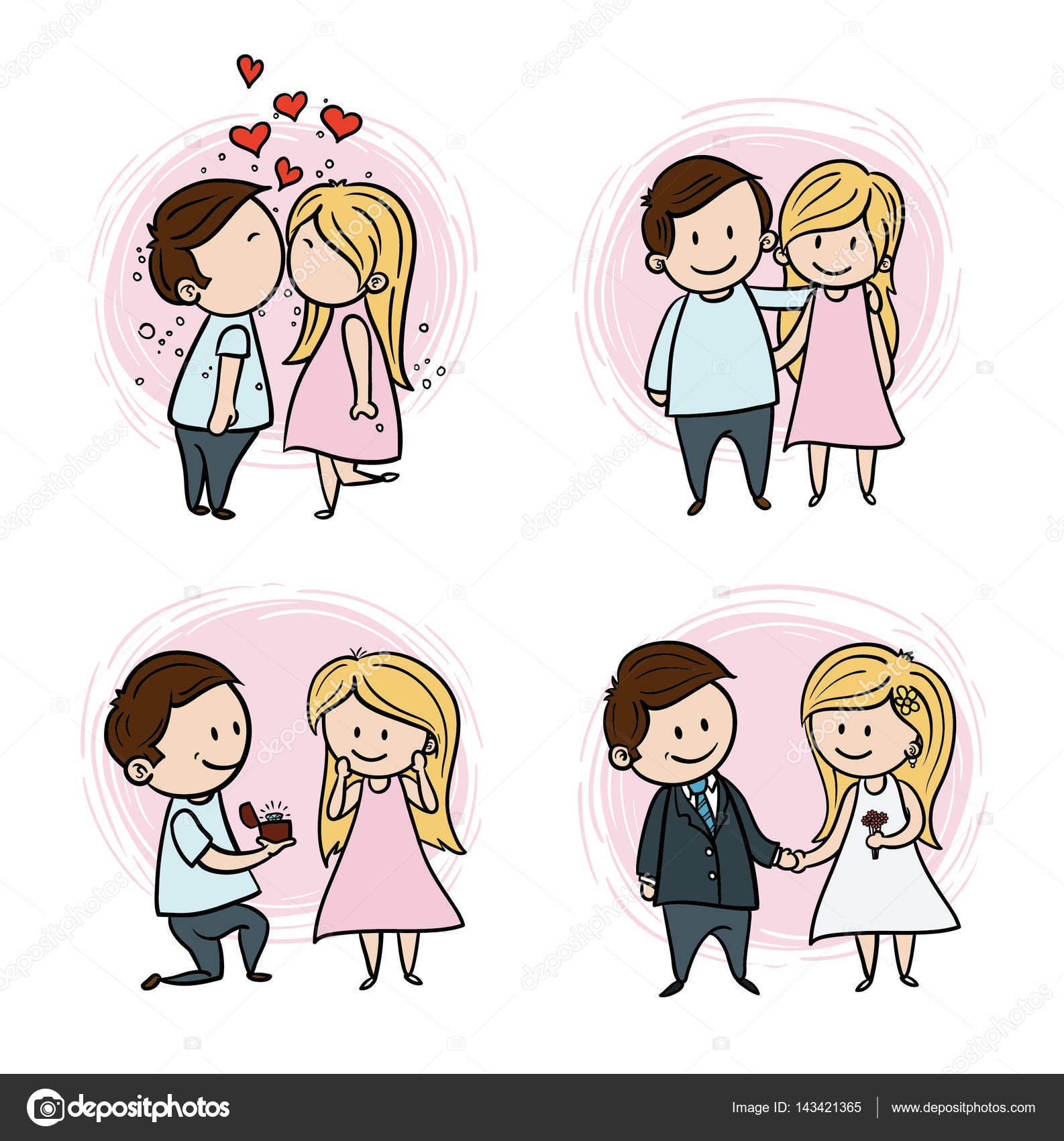 Hand Drawing Cartoon Set Of Couple In Love Stock Vector