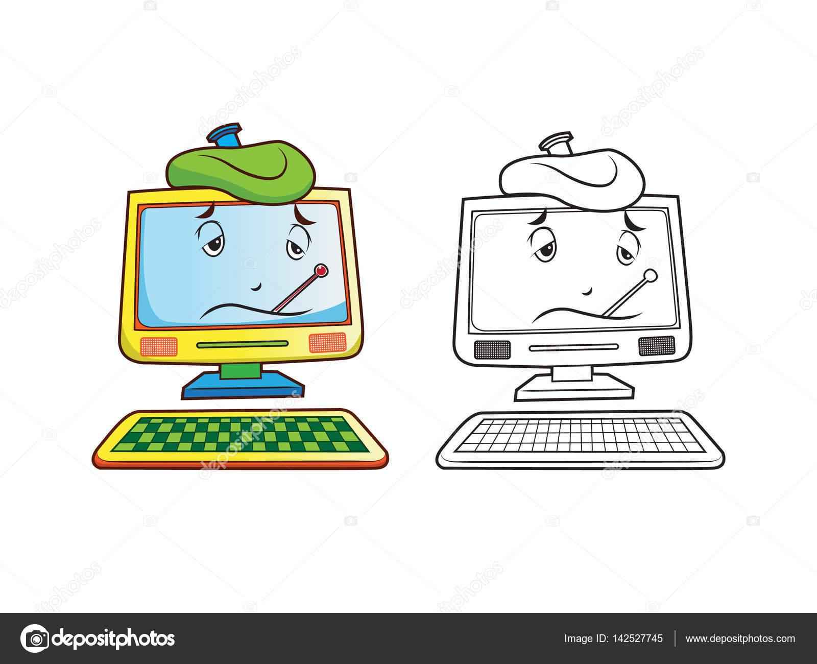 Hasta Bilgisayar Karakter Boyama Sayfaları Stok Vektör