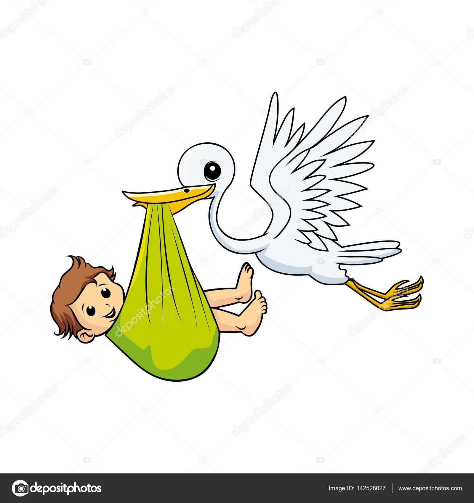 stork bird carrying baby boy stock vector abcvecctor 142528027