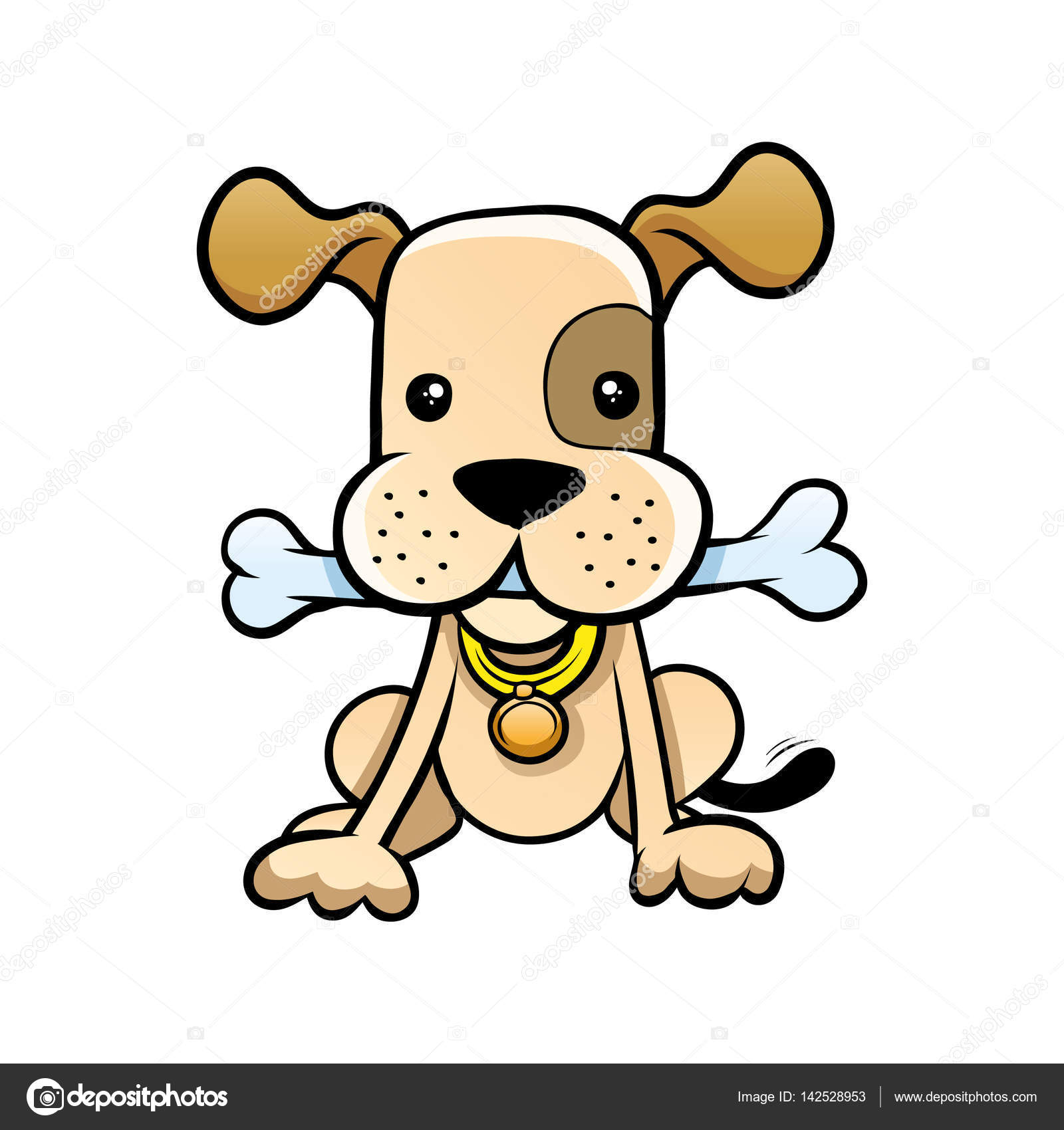 Osso Per Cani Disegno.Illustrazione Osso Con Disegno Cane Con Il Disegno Dell