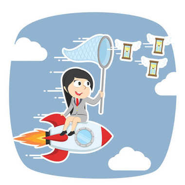 businesswoman on rocket chasing flying hourglass
