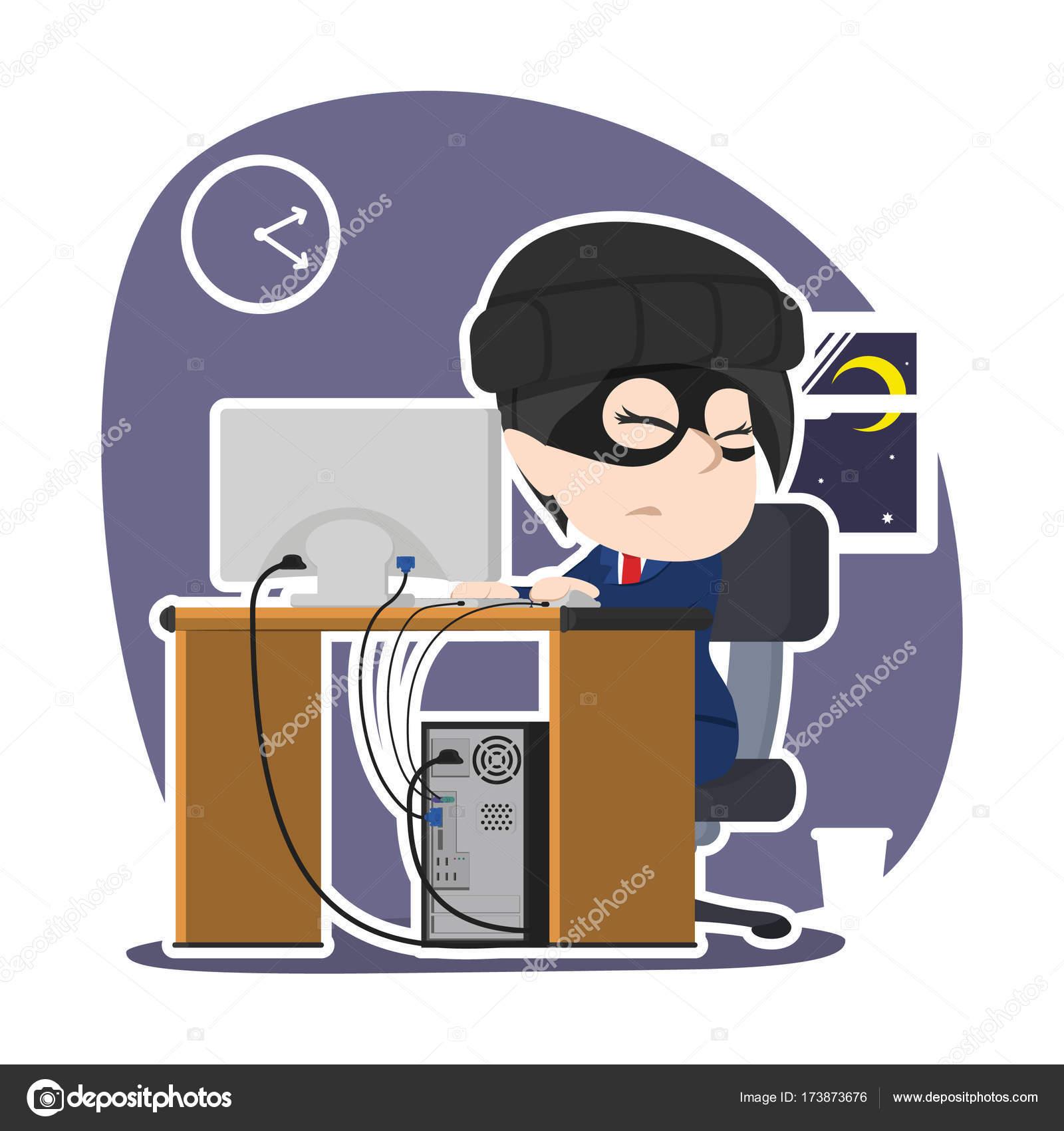 Asiatische Stehle asiatische dieb geschäftsfrau die daten computer stehlen