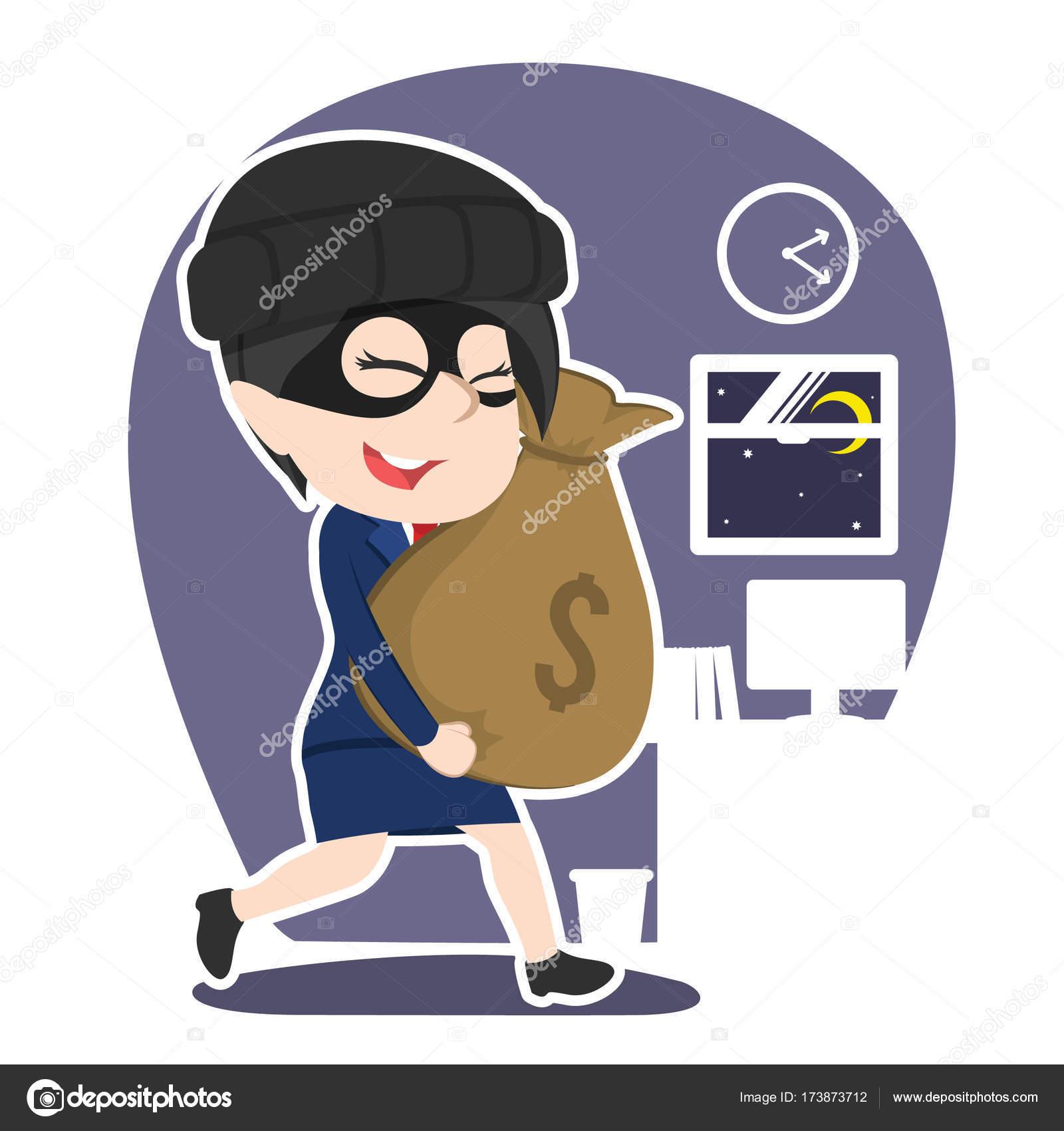 asiatische dieb geschäftsfrau unternehmen geld stehlen stockvektor