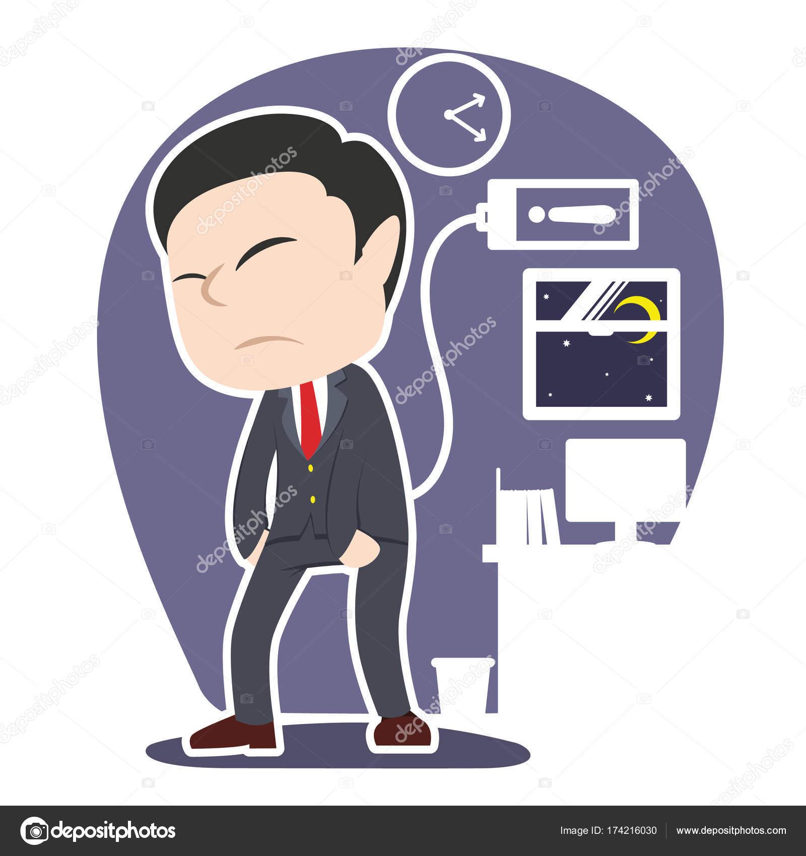 アジアある疲れたビジネスマン イラスト デザイン ストックベクター