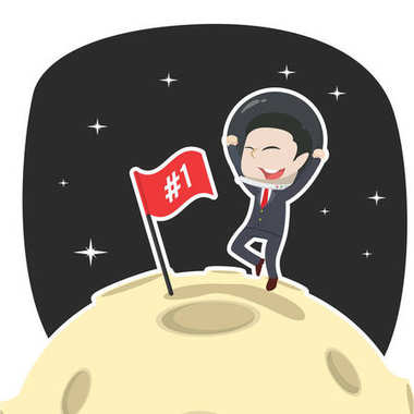 asian businessman is putting flag on moon
