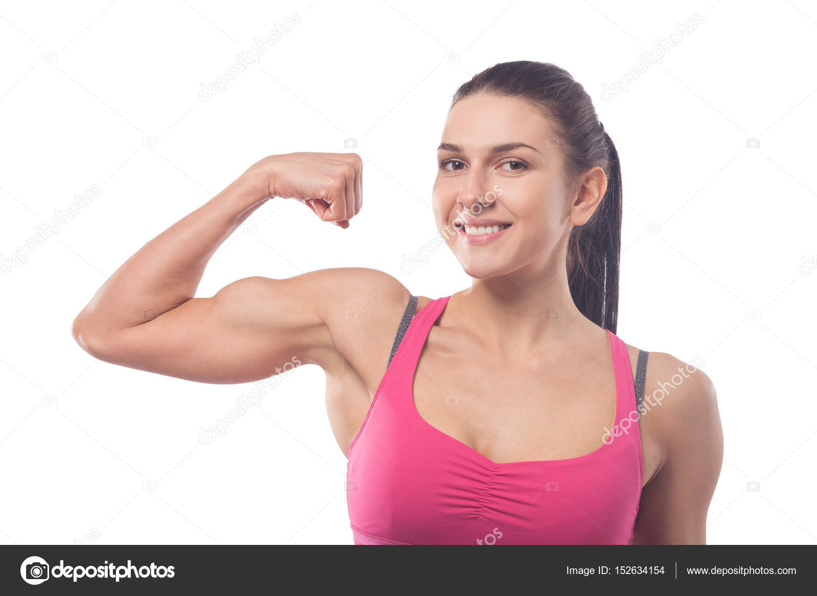 Frau zeigt Bizeps — Stockfoto © everyonensk #152634154