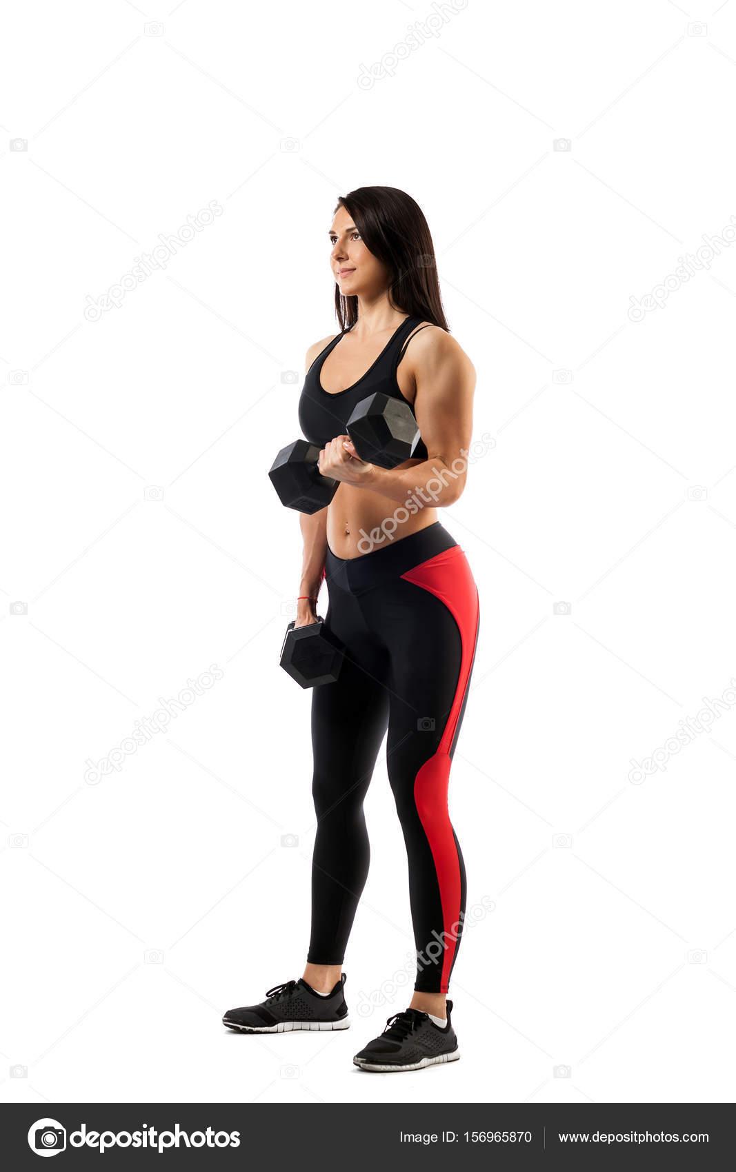 Femme faisant un exercice avec des haltères sur le biceps– images de stock  libres de droits a6be2507169