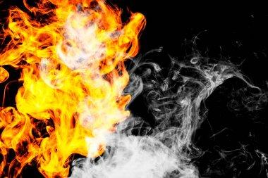 "Картина, постер, плакат, фотообои ""fire flames background. dense fiery smoke on a black isolated background. background of smoke vape"", артикул 192405446"