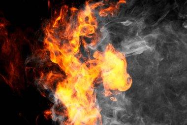"Картина, постер, плакат, фотообои ""thick fiary smoke on a black isolated background. fire flames background. "", артикул 192406784"