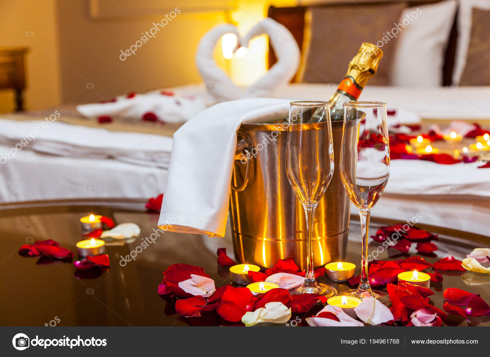 Hotel Room Honeymoon Table Fruit Plate Candles Background Bed Decorated Stock Photo