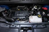 Novosibirsk, Russia  December 06, 2019:  Opel Mokka,  Closeup of a clean motor block, . Internal combustion engine