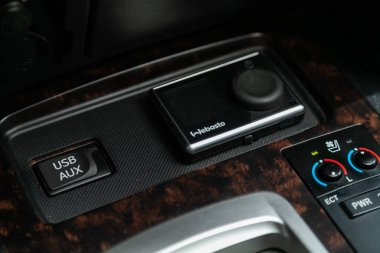 Novosibirsk, Russia  December 29, 2019:   Toyota Land Cruiser 200,  close-up of the   webasto  setting buttons . modern car interior