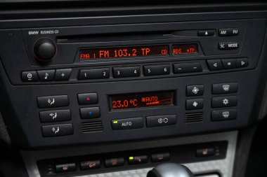 Novosibirsk, Russia  March 04, 2020:  BMW X3, A close up on a black panel with radio,  player and control button