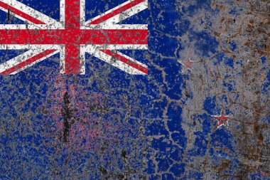 National flag of New Zealand on old peeling wall background.The concept of national pride and symbol of the country.