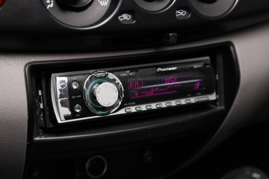 Novosibirsk/ Russia  April 02, 2020  Mitsubishi L200 , close-up of the black panel with radio,  player and control buttons