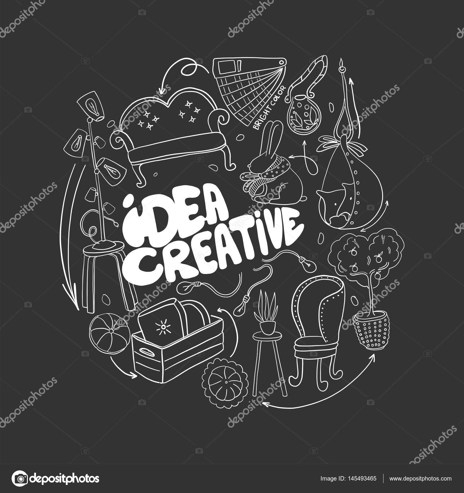 Seien Sie kreativ in der Innenarchitektur. Doodle handgezeichneten ...