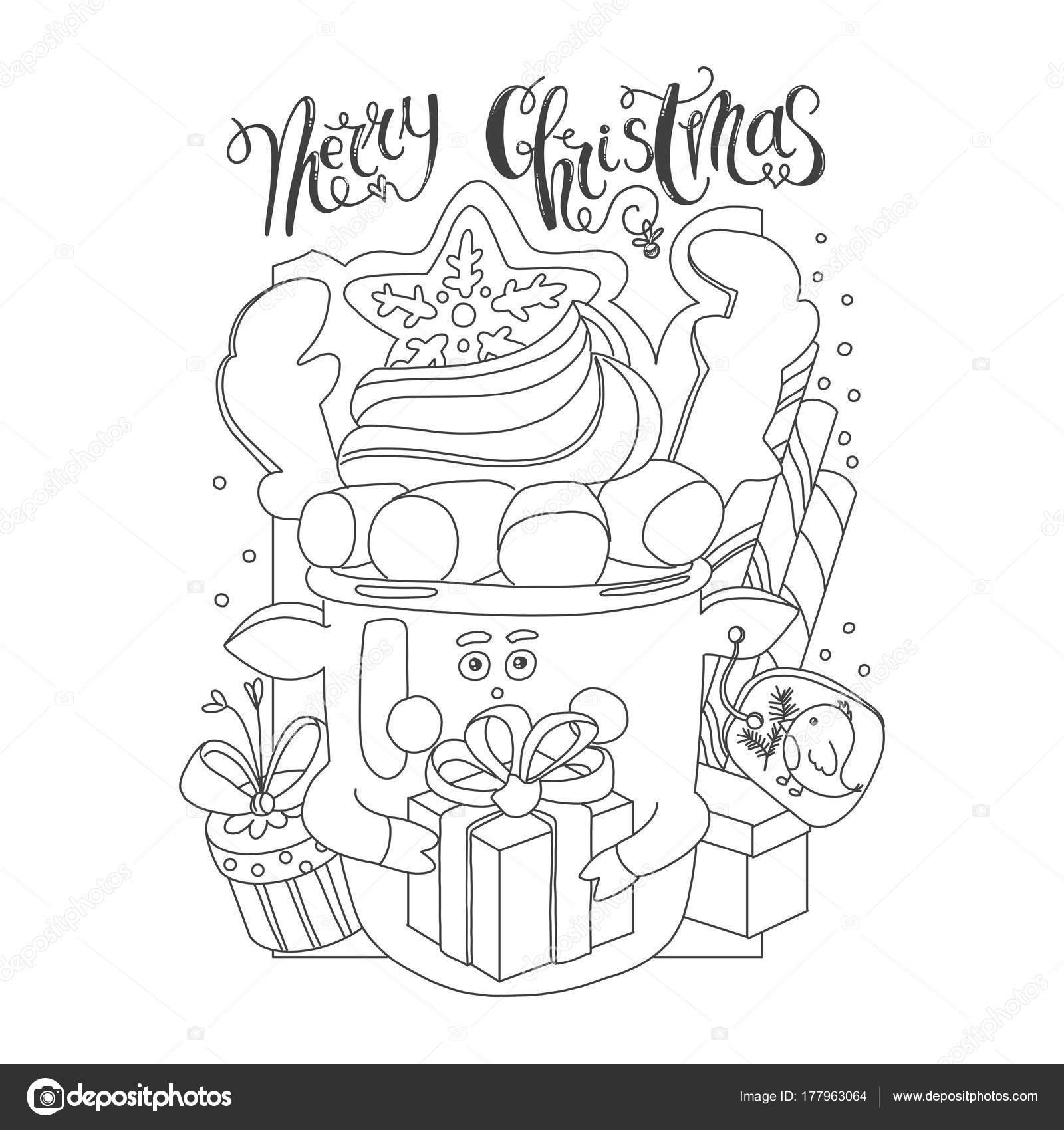 Scheda Da Colorare Con Tema Natale Cartolina Di Natale Con La Tazza