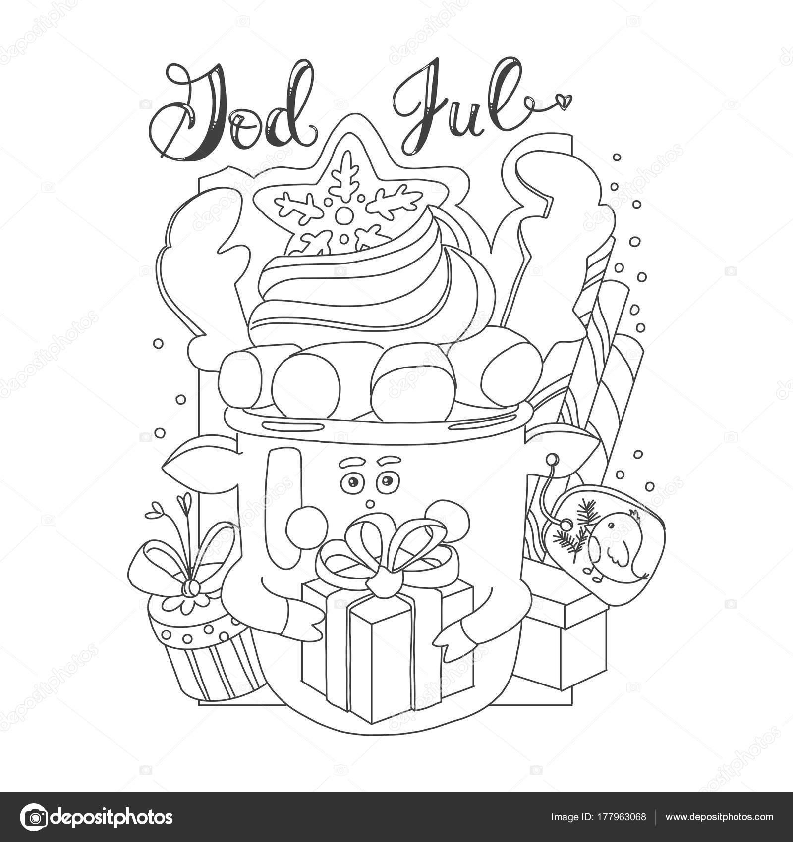 Tarjeta para colorear con tema de Navidad. Tarjeta de Navidad con la ...