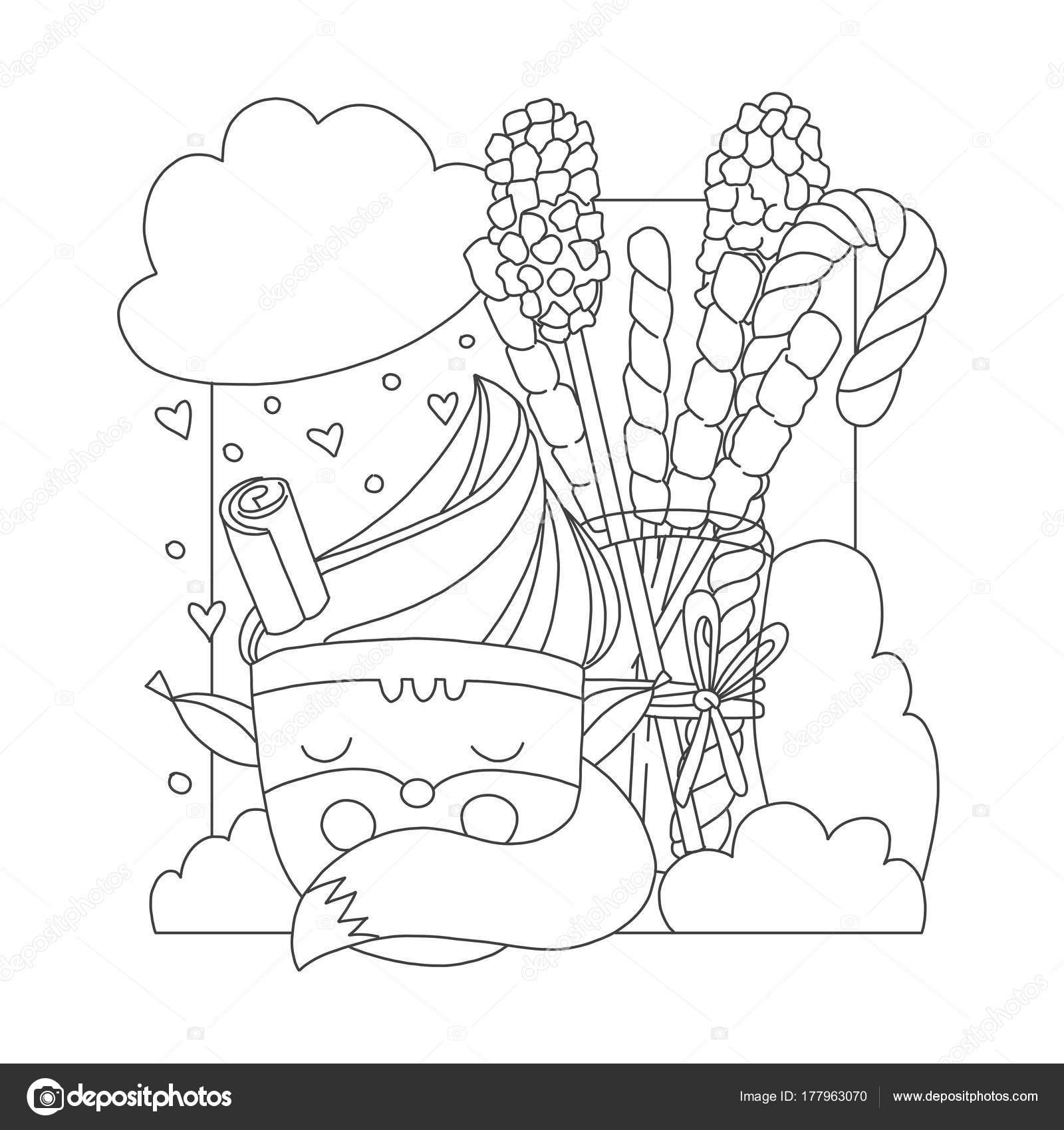 Página para colorear con la taza de dibujos animados en forma de ...
