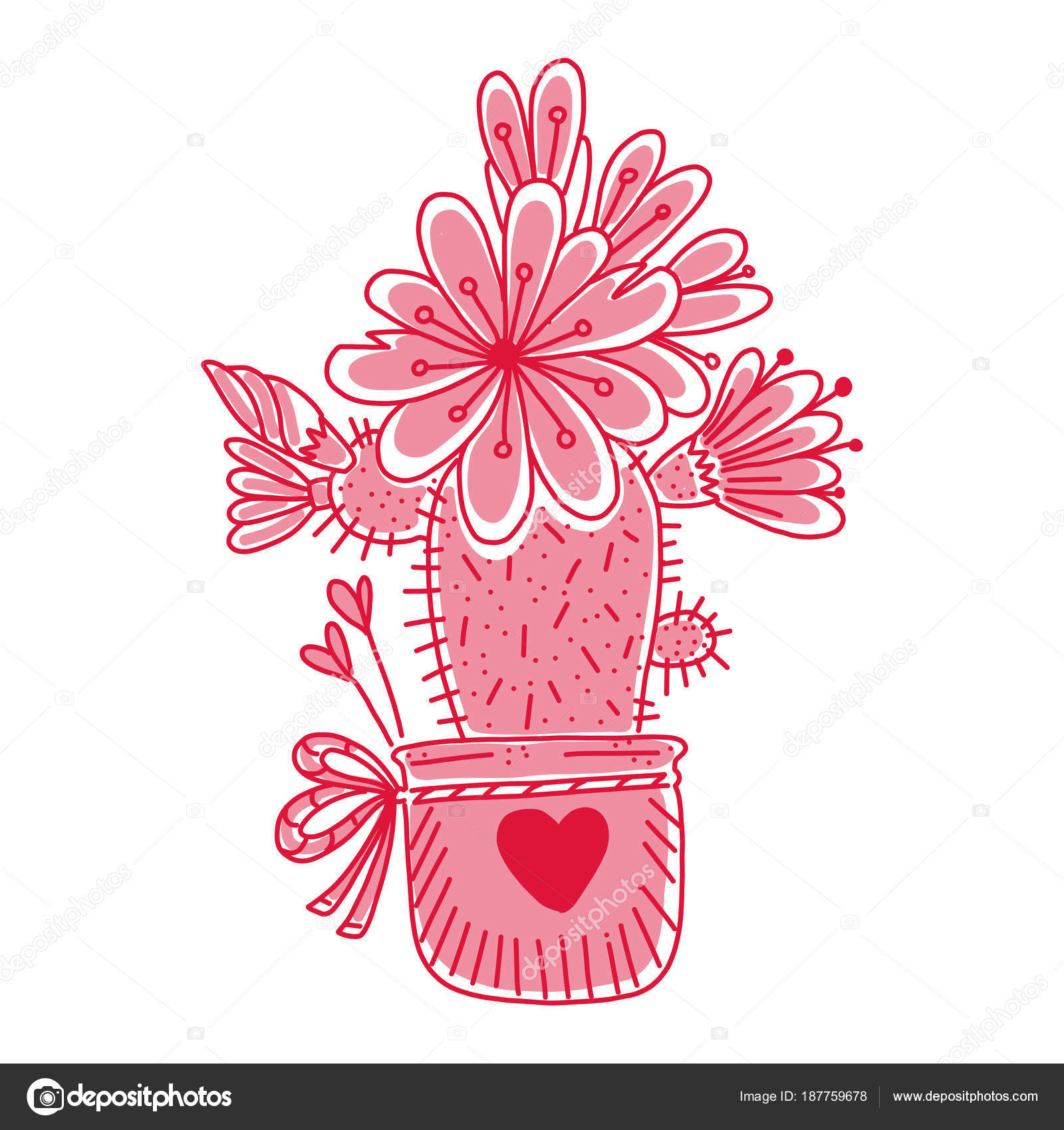Hand gezeichnet Doodle Kaktus. Niedliche florale Element für Karten ...