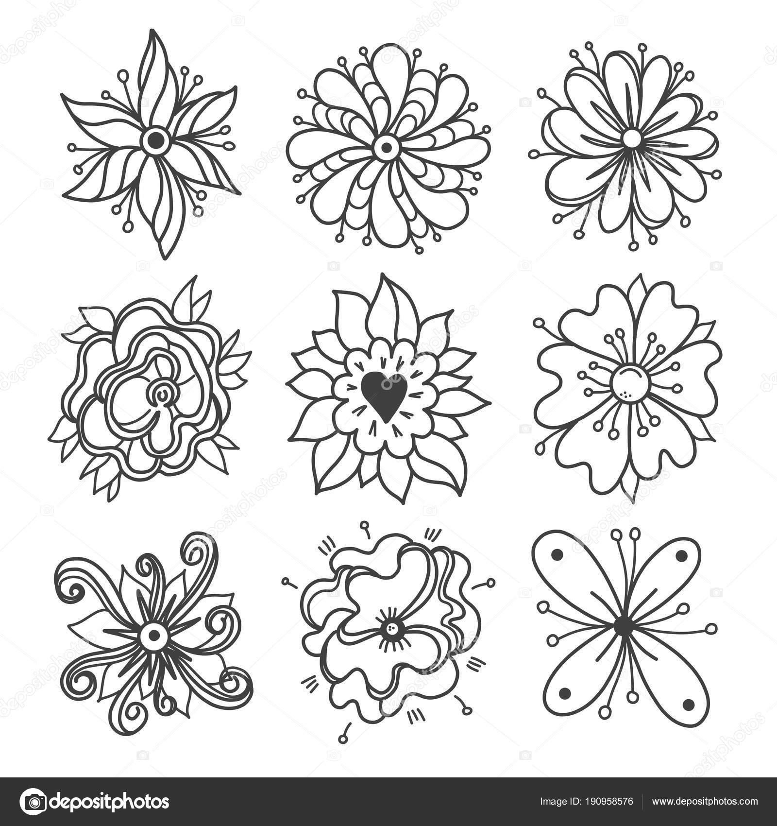 Jednoduche Kvetinove Prvky Rucne Kreslene Kvetiny Prvky Cmarani