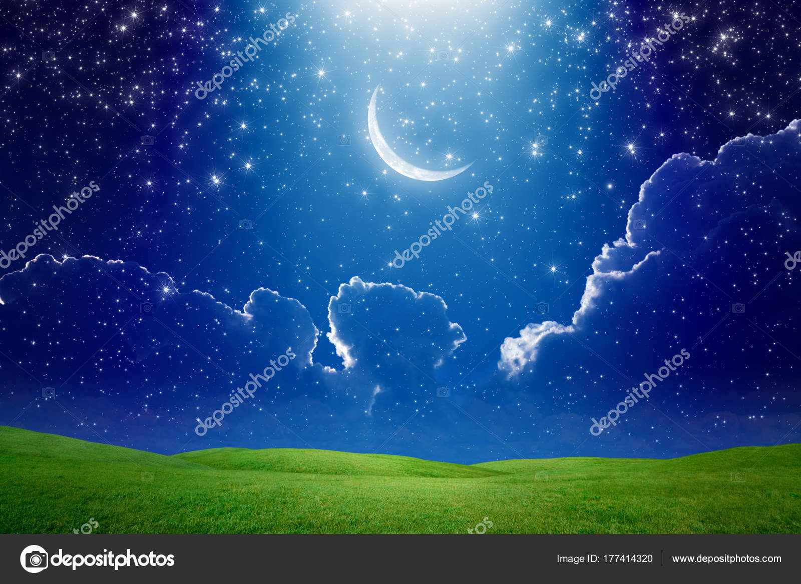 Crescent Moon In Dark Blue Starry Sky Bright Light Beam From Sk