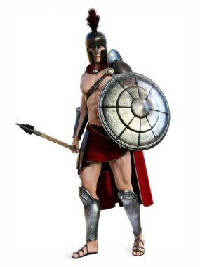 The Spartan , Full length illustration of a Spartan in Battle dress posing on a white background. Photo realistic 3d model scene.