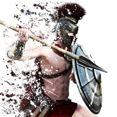 Spartan attack,illustration of a Spartan warrior in Battle dress attacking on a white background with splatter effect.