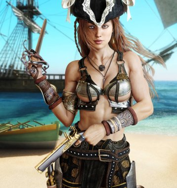 Alluring sexy pirate female posing with a cutlass sword and pistols on a coastline with her pirate ship in the background.