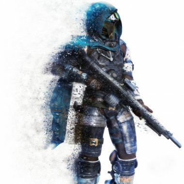 Futuristic Marine Soldier on a white background with splatter dispersion effect.