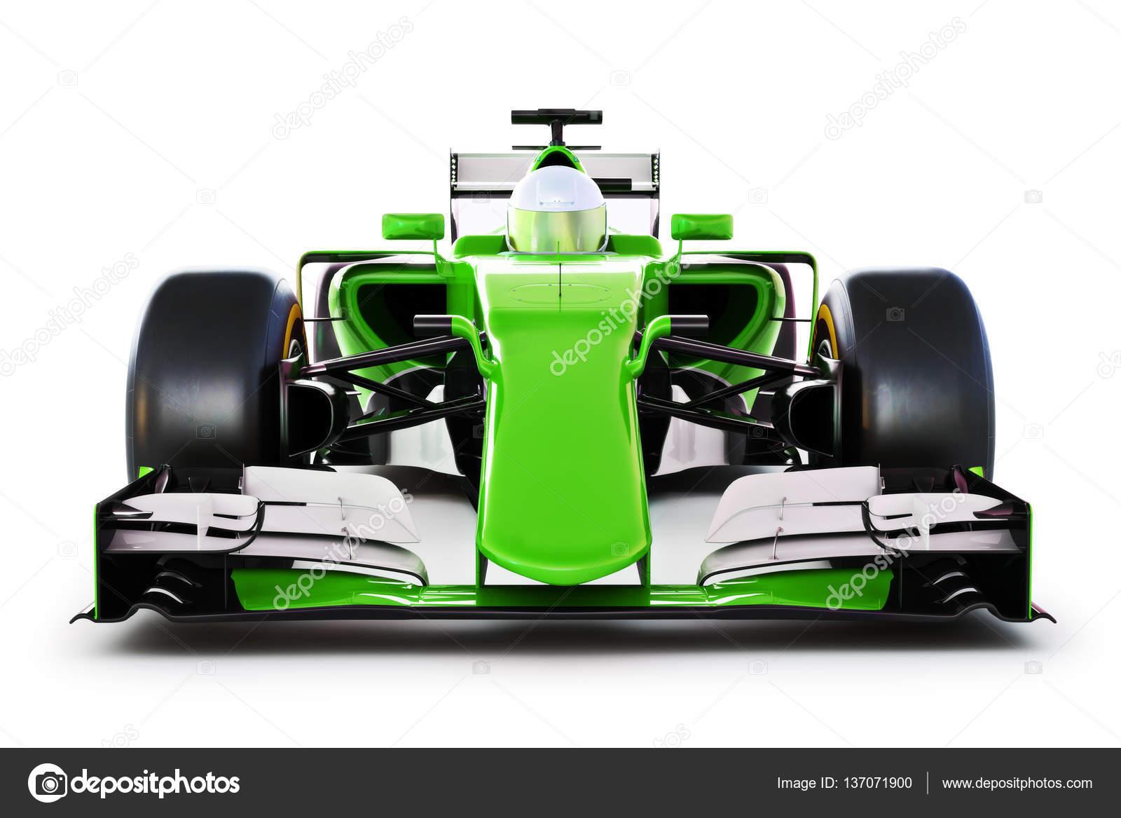 vue de face d une voiture de course verte et le pilote sur un fond blanc isol photographie. Black Bedroom Furniture Sets. Home Design Ideas