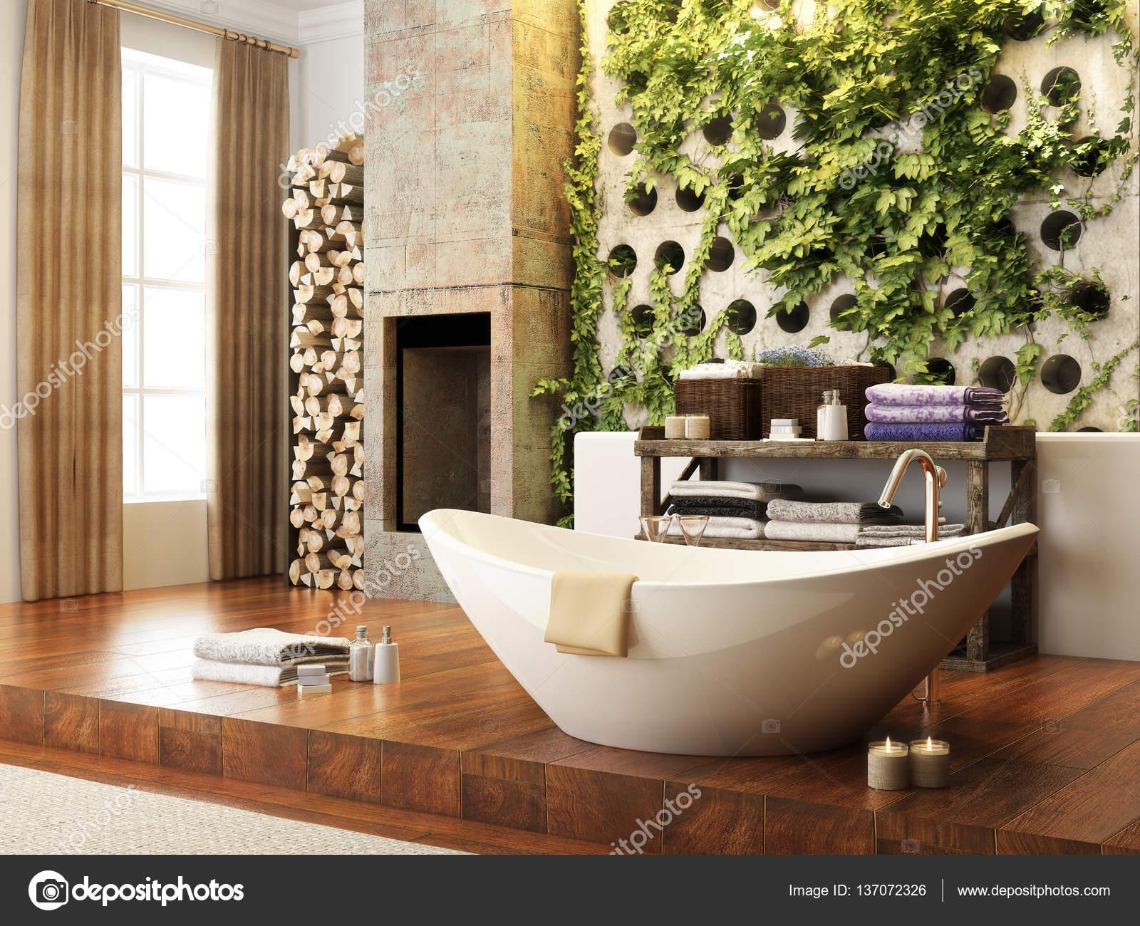Rustikale Akzente open Konzept Badezimmer Wand Atrium mit Kamin ...