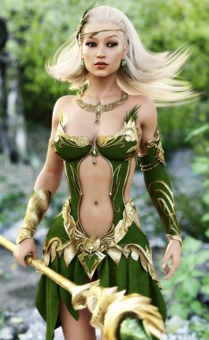 Elegant female mage in the forest with depth of field.Adorable fantasy character with ornamental dress with jewelry and enchanted staff.