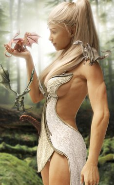 Fantasy wood elf female and her three mythical dragons in an enchanted forest.