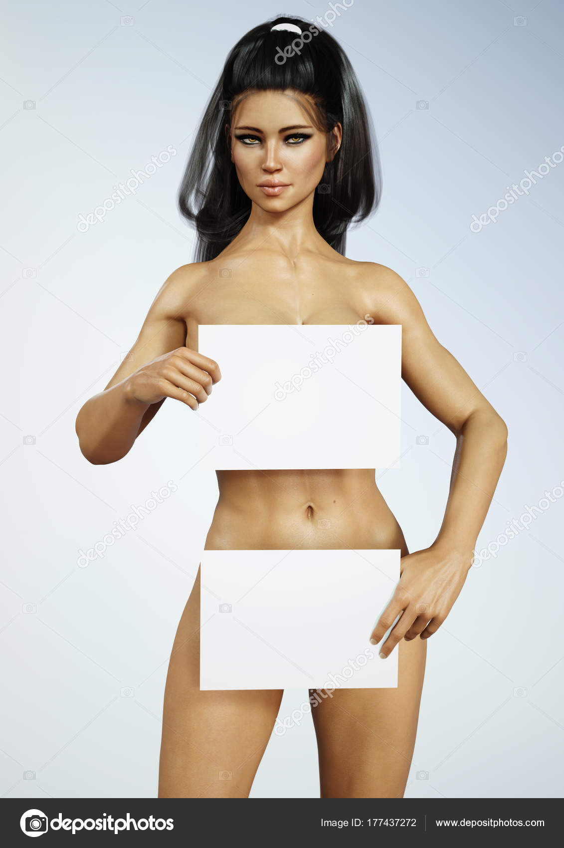 beautiful exotic young naked brunette female holding white boards