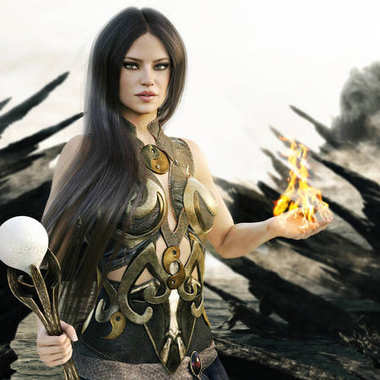 Fantasy wizard female with flames coming from her hands and a mythical skull island in the background. 3d rendering