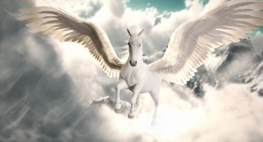 Flight of the Pegasus. Majestic Pegasus horse flying high above the clouds and snow peaked mountains. 3d rendering