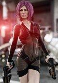 Fotografia Donna futuristica holding pistole laser duello in posa davanti alla sua nave pronto per il combattimento. rendering 3D