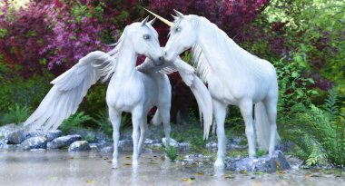 Fantasy mythical white Unicorn and Pegasus in an enchanted forest . 3d rendering