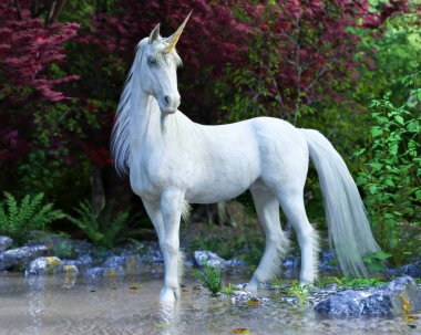 Majestic Unicorn posing in an enchanted forest. 3d rendering
