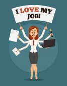 Photo Unhappy sad crying business woman with many hands holds banner I hate my job. Multitasking skills. Angry office worker. Vector flat cartoon illustration