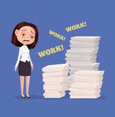 Photo Tired unhappy office worker woman character. Hard work. Vector flat cartoon illustration